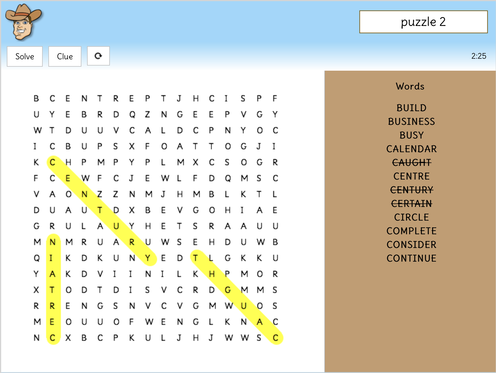 Interactive word searches for statutory word lists