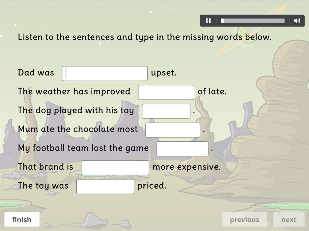 Assessment dictation exercises