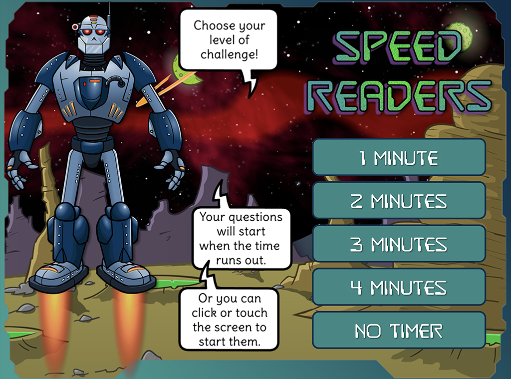 Choose a level of challenge - how quickly can you read the text?